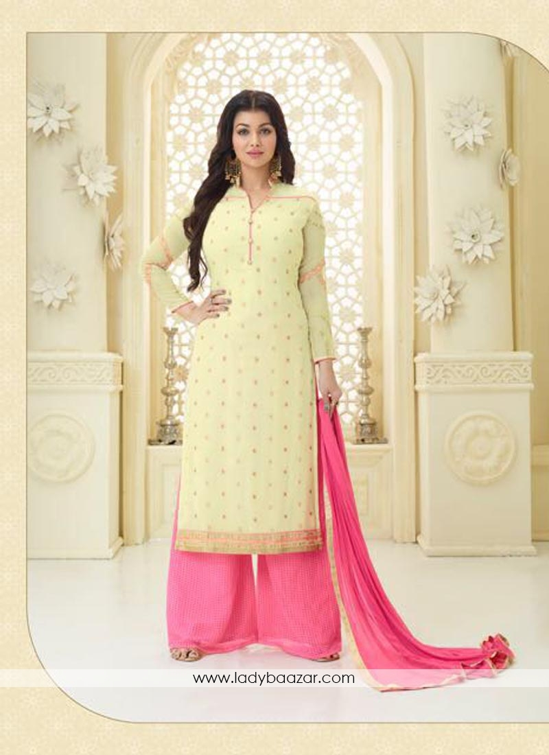 0c6174c315 Trendy Yellow Embroidery Work Faux Georgette Palazzo Salwar Suit