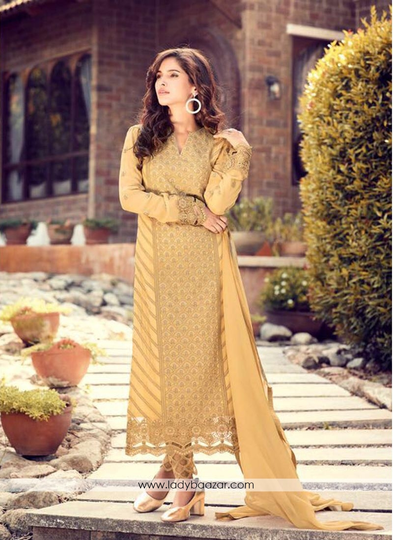 Trendy Yellow Georgette Embroidery Work Pant Style Suit