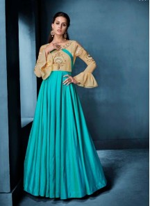 Turquoise Wedding Floor Length Anarkali Suit