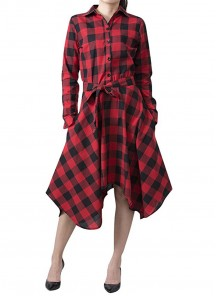 Twill Cotton  Red And Black Checks  Printed Knee Length Western Wear Patterned Tunics