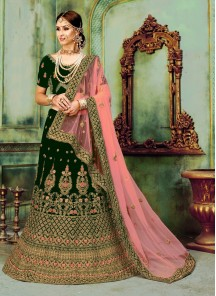 Two Tone Velvet Zari Green Lehenga Choli