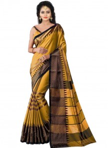 Unique Cotton Silk Mustard Color Printed Saree