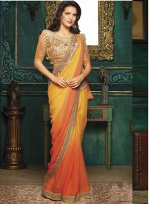 Unique Georgette Silk Embroidery Work Classic Saree