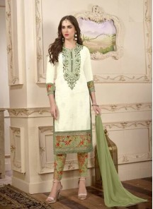 Versatile Cotton Off White Embroidery Salwar Kameez