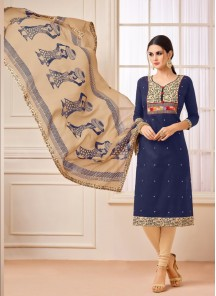 Versatile Navy Blue Cotton Embroidery Work Staight Suit