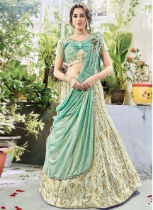 Vibrant Fancy Hand Work Green Shaded Jacquard WeddingLehenga Choli