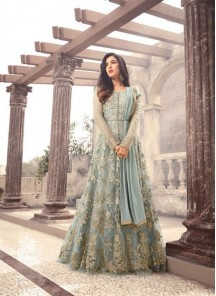 Vibrant Grey Embroidered With Stone Work Floor Length Anarkali Suit