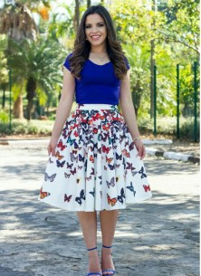 Vintage Blue  With White Dress