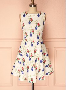 Vintage Floral A Line Crepe Sleeveless Cream  Dress