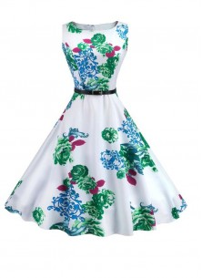Vintage Floral A Line Sleeveless Green With White