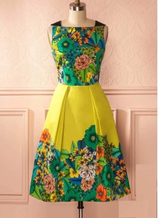 Vintage Floral A Line Sleeveless Green With Yellow