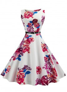 Vintage Floral A Line Sleeveless Multi Dress