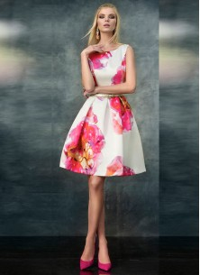 Vintage Floral A Line Sleeveless Pink White  Dress
