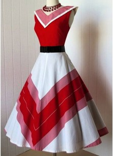 Vintage Floral A Line Sleeveless Red  White Dress