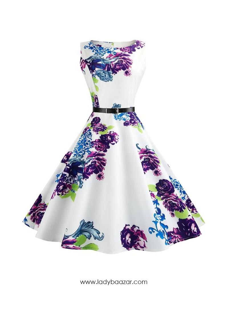 Vintage Flower White With Red Print Dress For Women