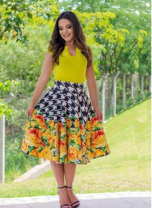 Vintage Flower Multi Print Dress For Women