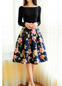 Vintage Full Sleeve Blue With Black Flower Print dress
