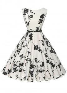 Vintage Floral A Line Sleeveless Black White Dress