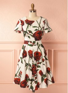 Magnificent Rose Print Exclusive Dress For Women