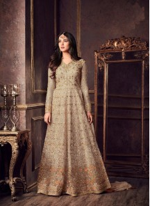 Vivacious Net Grey Embroidered With Stone Work Floor Length Anarkali Suit