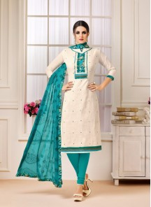 Vivacious Off White Cotton Embroidery Work Salwar Suit