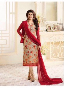 Vivid Red With Cream Cotton Embroidery With Printed Straight Dress