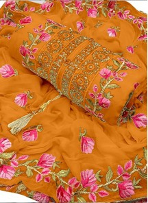 Voluptuous Orange Chanderi Cotton Embroidered Designer Dress Material