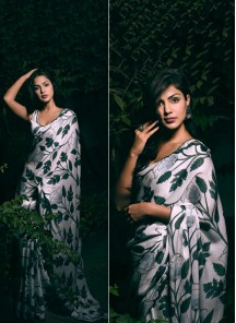 Wedding Saree Digital Print Satin Silk In Green And White