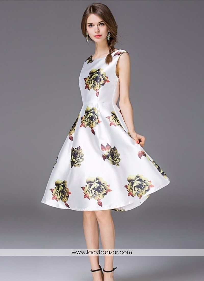 Western Wear White With Flower Print Satin Dress 6a3372ae5
