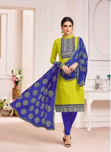 Whimsical  Blue With Yellow Cotton Printed Salwar Suit
