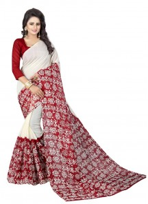White N Red Color Bhagalpuri Silk Printed Saree