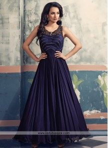 Wonderous dark purple georgette Designer Suit