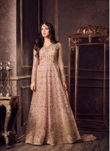 Wonderous Embroidered With Stone Work Peach Designer Suit