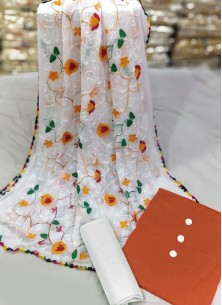Wonderous Orange And White Chickan Cotton Dress Material