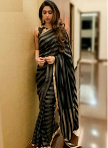 Wonderous Silk Black Abstract Traditional Saree