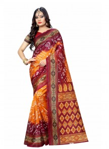 Woven Bhagalpuri Silk Casual Saree In Orange With Red Color