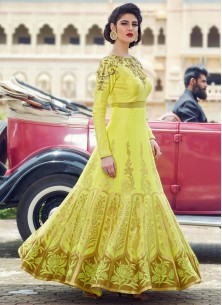Yellow Banglori Silk Pure Hand Work Stitched Anarkali Suit