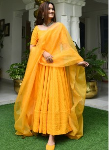 Yellow Designer Anarkali Suit In Cotton With Lucknowi Chikankari Embroidery Work