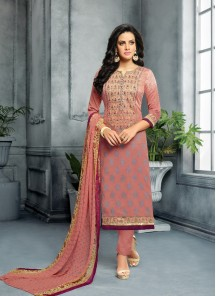 Zesty Brown Cotton  Embroidery With Printed Suit