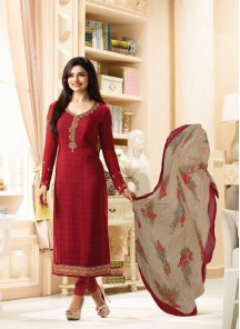 Zesty Red Crepe Embroidery Work Salwar kameez